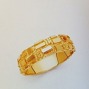 Other - 14k Solid Yellow Gold Nugget Ring Band